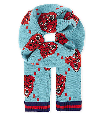 GUCCI Bengala wool scarf (Bluette+red
