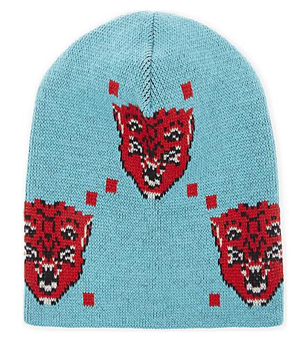 GUCCI 愤怒的面孔羊毛毛线帽 (Bluette + 红色