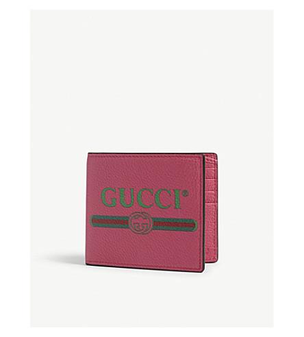 Logo grained leather billfold wallet