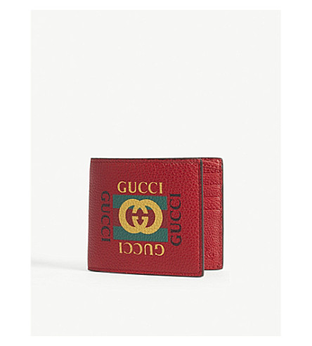 GUCCI Logo grained leather billfold wallet (Red