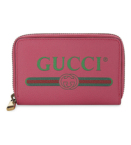 GUCCI Logo small grained leather purse (Pink