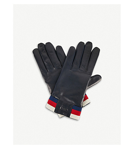 GUCCI Web stripe cashmere-lined leather gloves (Royal