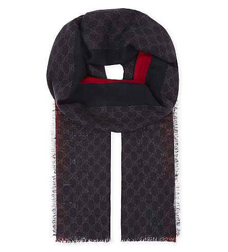 GUCCI Logo wool scarf (Black+red
