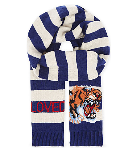 GUCCI Striped wool scarf (Sapphire+ivory
