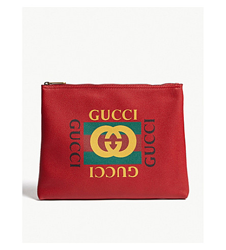 GUCCI Logo medium leather pouch (Red