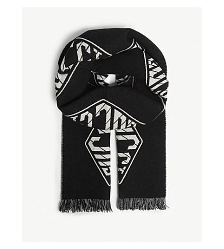 GUCCI 标志羊毛和羊绒围巾 (黑 + 象牙