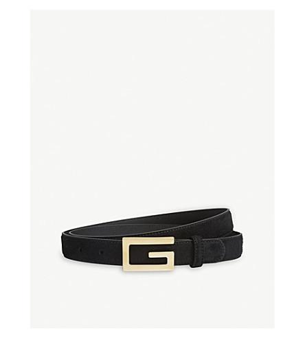 GUCCI G-buckle skinny suede belt (Black