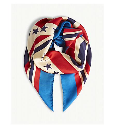 GUCCI Varsity print silk scarf (Blue