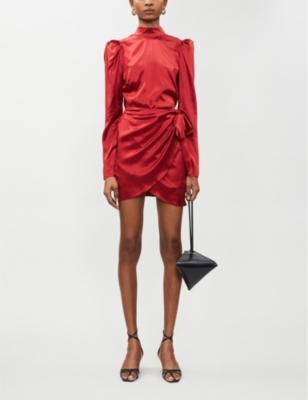 Josefine puffed-sleeve silk-satin mini dress