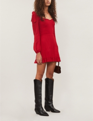 Elin ruffled-trim crepe mini dress
