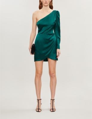 Hyperion one-sleeve asymmetric-neck silk mini dress