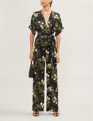 Lemongrass floral-pattern crepe jumpsuit