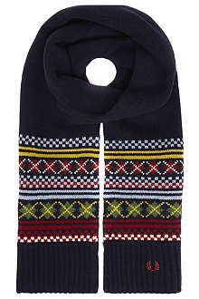 FRED PERRY Fair Isle knitted scarf