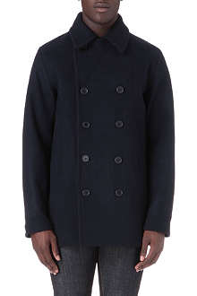 FRED PERRY Melton wool-blend peacoat