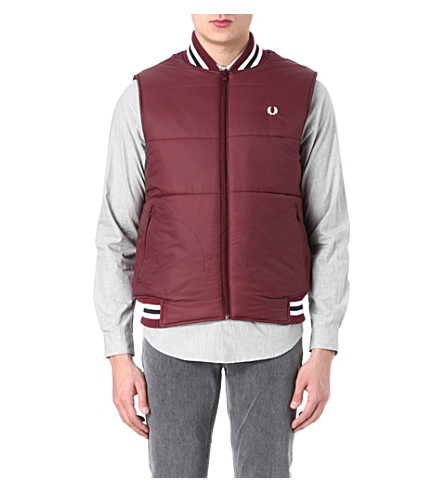 FRED PERRY Zip-through quilted gilet (Port