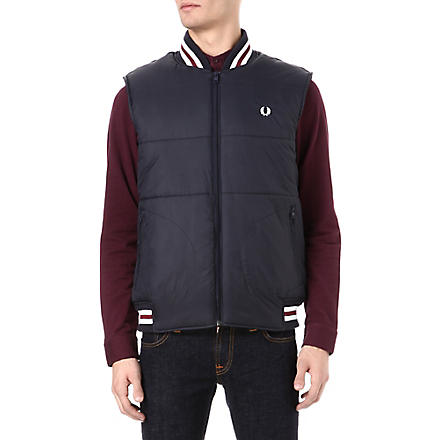 FRED PERRY Zip-through quilted gilet (Navy