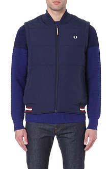 FRED PERRY Laurel wreath-embroidered quilted gilet