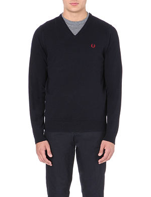 FRED PERRY Embroidered logo v-neck jumper