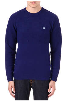 FRED PERRY Scaled pique crew-neck