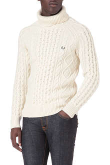 FRED PERRY Roll-neck cable knit jumper