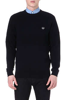 FRED PERRY Scaled cotton-piqué knitted jumper