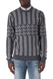 FRED PERRY Houndstooth striped jumper