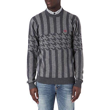FRED PERRY Houndstooth striped jumper (Grey