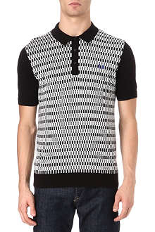 FRED PERRY Checkerboard knitted polo shirt