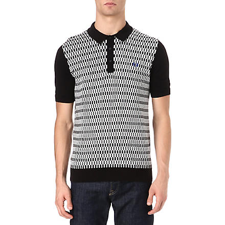FRED PERRY Checkerboard knitted polo shirt (Black