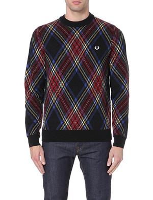 FRED PERRY Tartan wool jumper