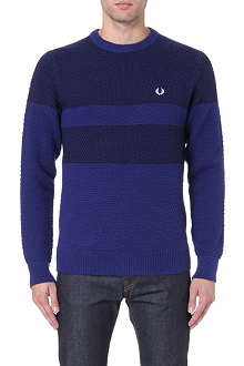 FRED PERRY Logo-embroidered piqué knit jumper