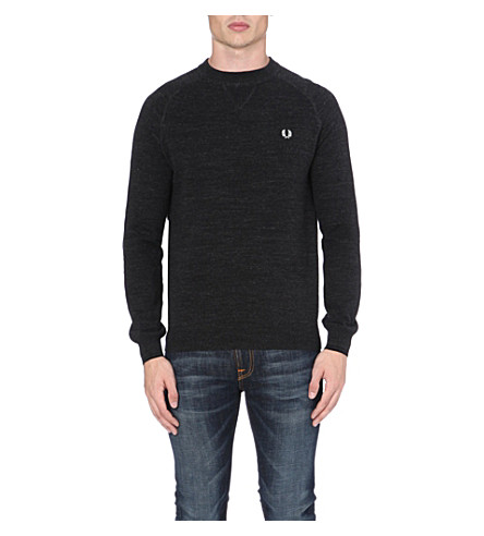 FRED PERRY Logo-detailed knitted jumper (Graphite