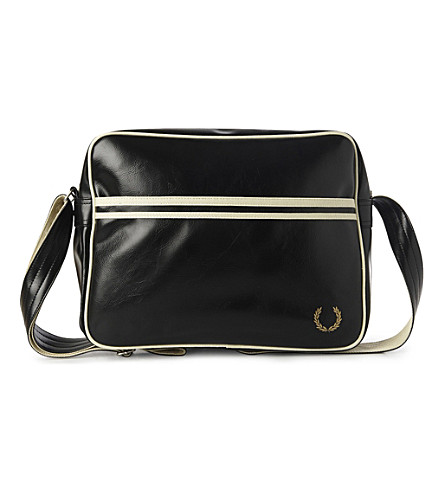 FRED PERRY Striped messenger bag (Black/champagne