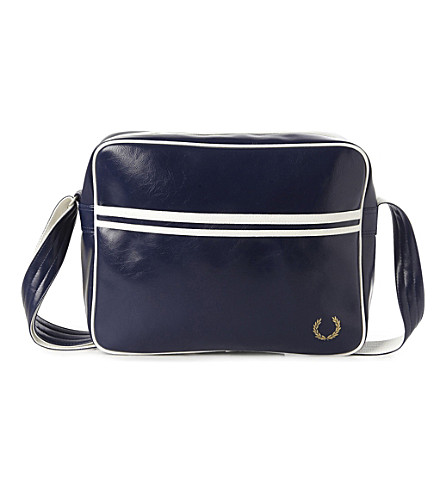 FRED PERRY Striped messenger bag (Navy/white