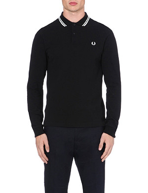 FRED PERRY Twin-tipped long-sleeved polo shirt