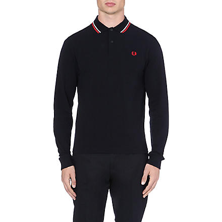 FRED PERRY Twin-tipped long-sleeved polo shirt (Navy