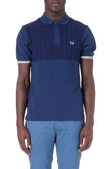 FRED PERRY Half panel cable knit polo shirt