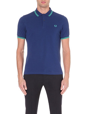 FRED PERRY Slim-fit twin-tipped cotton-piqué polo shirt