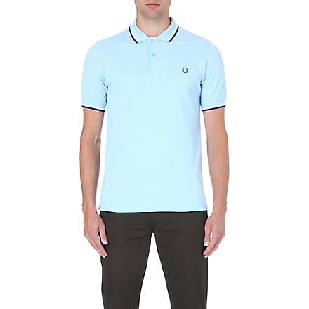 FRED PERRY Slim-fit twin-tipped polo shirt (Glacier