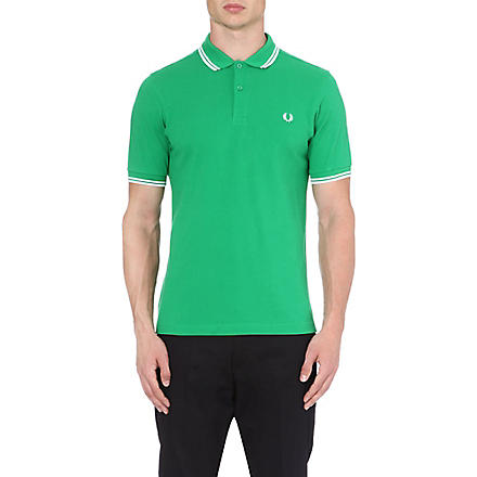 FRED PERRY Slim-fit twin-tipped polo shirt (Green