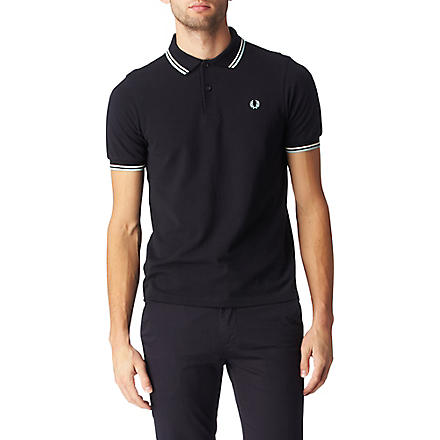 FRED PERRY Two colour twin tipped polo shirt (Navy/white