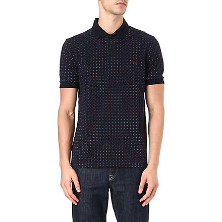 FRED PERRY Slim-fit polka-dot polo shirt (Navy