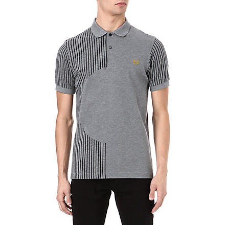 FRED PERRY Stripe circle silhouette polo shirt (Grey