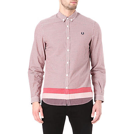 FRED PERRY Gingham block stripe shirt (Blood