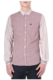 FRED PERRY Contrast striped gingham shirt