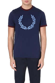 FRED PERRY Fitted cotton wreath t-shirt