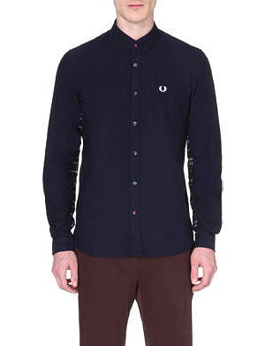 FRED PERRY Tartan-panelled shirt