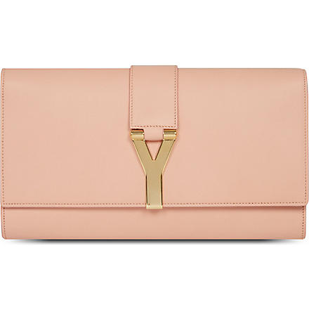 SAINT LAURENT Soft leather clutch (Blush