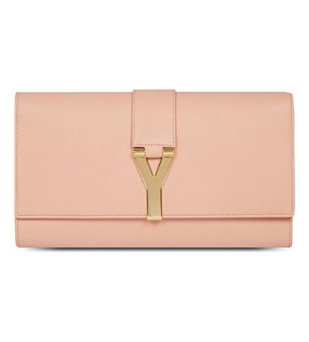 SAINT LAURENT Soft leather clutch (Blush
