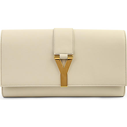 SAINT LAURENT Chyc leather clutch (Chalk